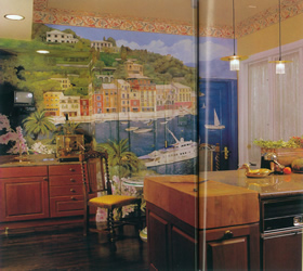 porto fino mural in Architectural Digest, February 1993